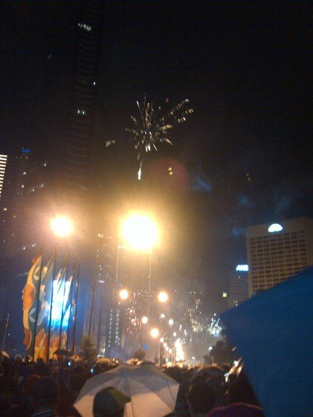Fireworks seen from afar, while still heading to the roundabout