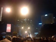 Sudirman facing Bunderan HI. Even before 12, people already lighted on the fireworks