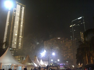 Beside Bundaran HI. Not the best position to enjoy all the fireworks, but it's safer and less noisy there.