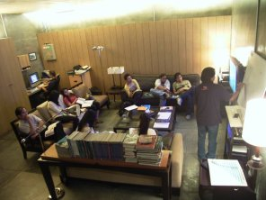 During the theory class, picture's from Daniel Carnadie's collection