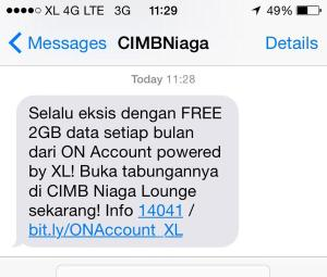 Ini dia SMS yang saya dapat dari CIMB Niaga